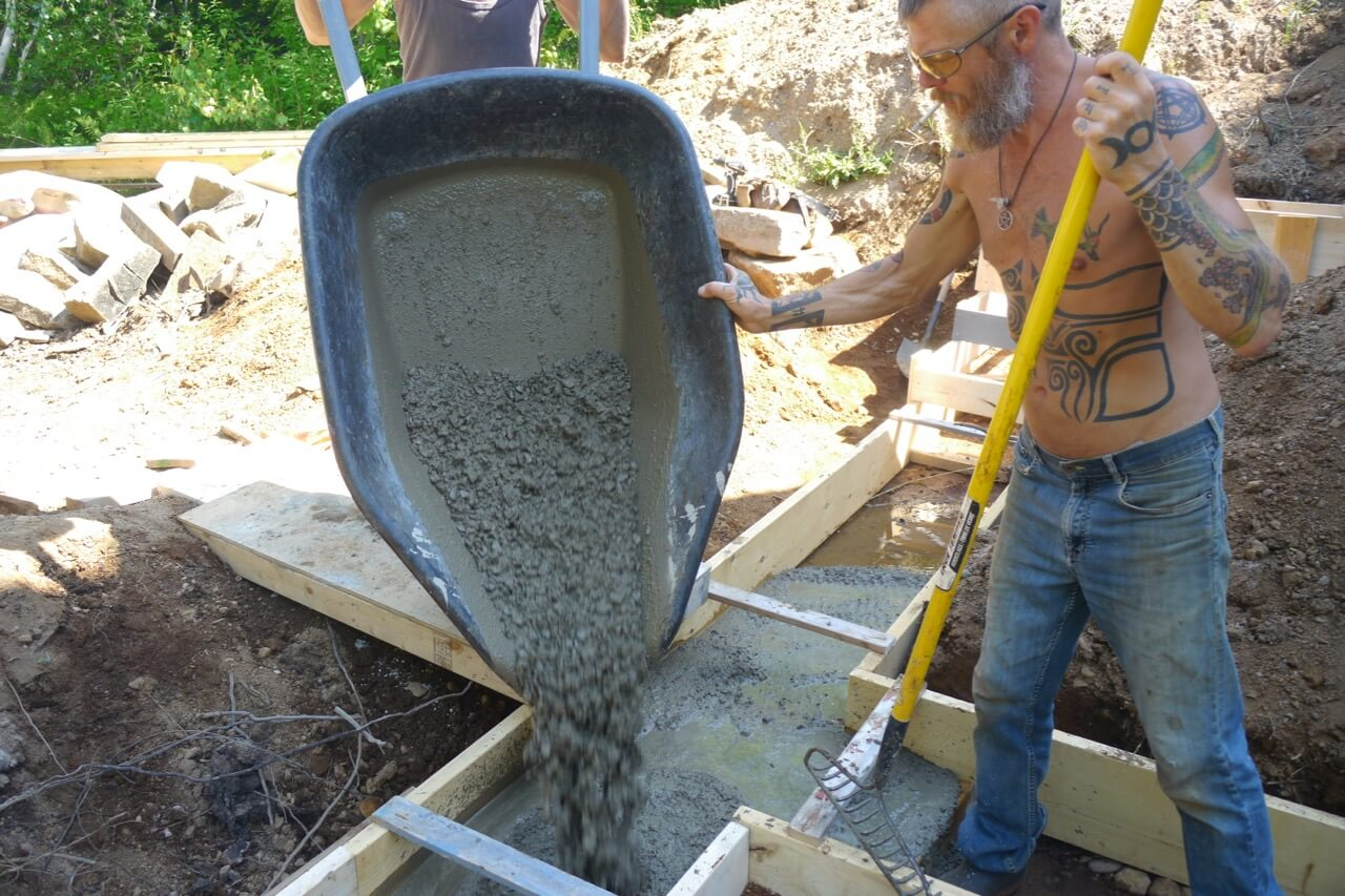 Pouring the footing