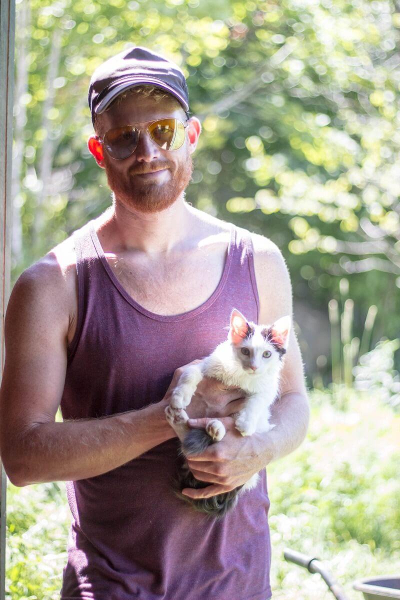 Adam holding Kitten-Kaboodle