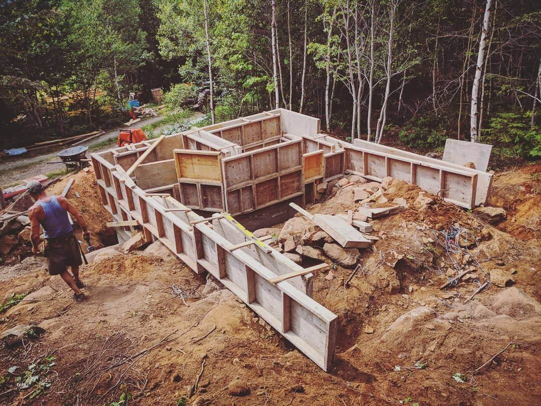 Slipform masonary walls in mid-construction