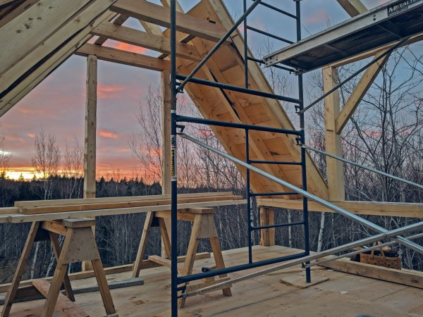Scaffolding by sunset
